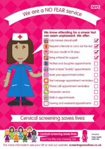 Cervical screening No Fear Practice blank poster