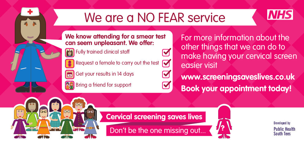 Cervical screening No Fear Practice flyer
