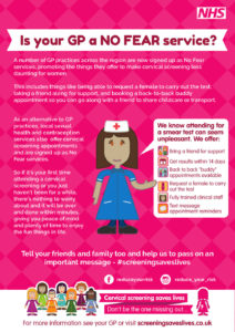 Cervical screening No Fear Practice information poster